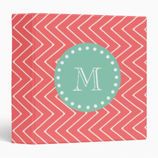 Coral Chevron Pattern | Mint Green Monogram 3 Ring Binder