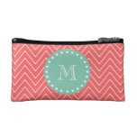 Coral Chevron Pattern | Mint Green Monogram Cosmetic Bags