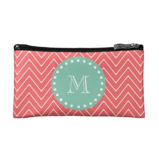 Coral Chevron Pattern | Mint Green Monogram Cosmetic Bags