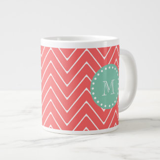 Coral Chevron Pattern | Mint Green Monogram Giant Coffee Mug
