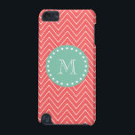 "Coral Chevron Pattern | Mint Green Monogram iPod Touch 5G Cover<br><div class=""desc"">Preppy, chic, trendy, coral and white modern chevron stripes, zigzag pattern, coral chevron pattern, you can personalize with a white monogram initial in a modern font, on a mint green circle label frame with a fun white polka dot circular border. GraphicsByMimi&#169; A trendy pattern for her. Use the template field...</div>"