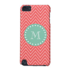 Coral Chevron Pattern | Mint Green Monogram Ipod Touch 5g Cover at Zazzle