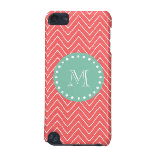 Coral Chevron Pattern   Mint Green Monogram iPod Touch (5th Generation) Covers