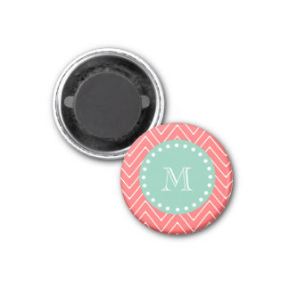 Coral Chevron Pattern | Mint Green Monogram Magnet