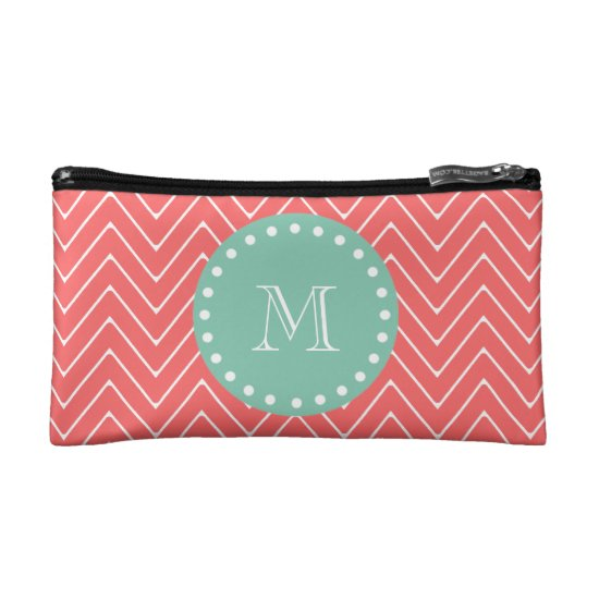 Coral Chevron Pattern | Mint Green Monogram Makeup Bag