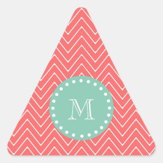 Coral Chevron Pattern   Mint Green Monogram Triangle Sticker