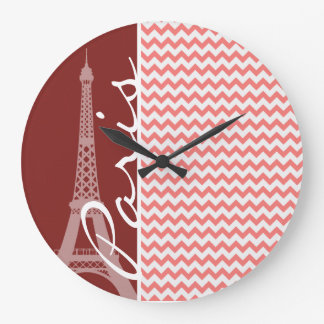Coral Chevron Pattern; Paris Wall Clock