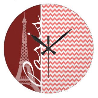 Coral Chevron Pattern; Paris Large Clock