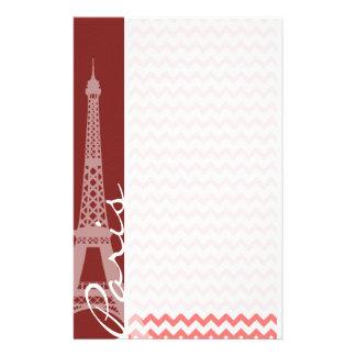 Coral Chevron Pattern; Paris Stationery