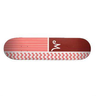 Coral Chevron Pattern Skateboard