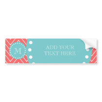 Coral Chevron Pattern | Teal Monogram Bumper Sticker