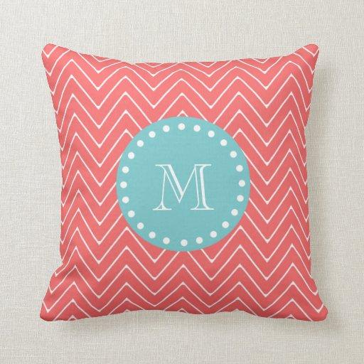 Coral Chevron Pattern | Teal Monogram Pillow