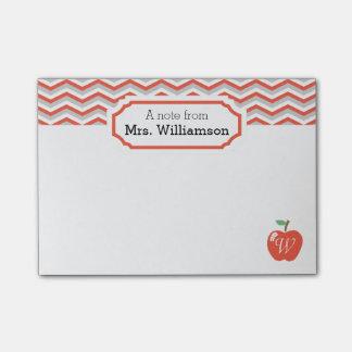 Coral Chevron Peach/Apple Monogrammed Teacher Note