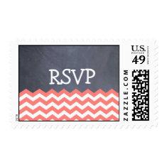 Coral Chevron RSVP Wedding Stamps