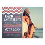 Coral Chevron Save the Date Card