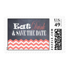 Coral Chevron Save the Date Stamps
