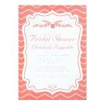 Coral Chevron Stripes Bridal Shower Invitations