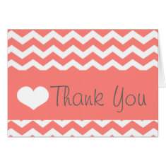 Coral Chevron Thank You Note Greeting Cards