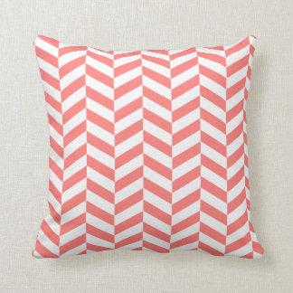 Coral chevron twill throw pillow