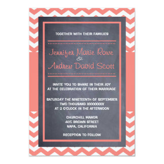 Coral Chevron Wedding Invitation
