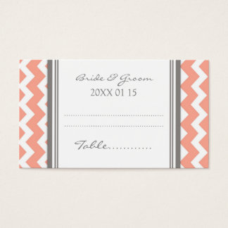 Coral Chevron Wedding Table Place Setting Cards