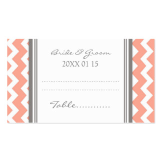 Coral Chevron Wedding Table Place Setting Cards Double-Sided Standard Business Cards (Pack Of 100)