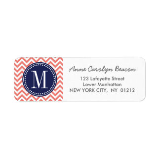 Coral Chevron Zigzag Personalized Monogram Label