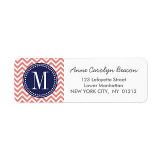 Coral Chevron Zigzag Personalized Monogram Return Address Label