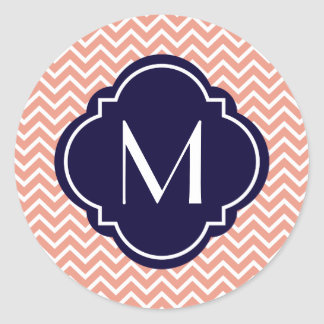 Coral Chevron Zigzag Stripes with Monogram Classic Round Sticker