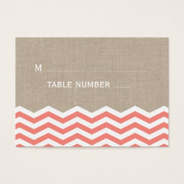 Beach Themed Coral Chevrons on Burlap Place Card