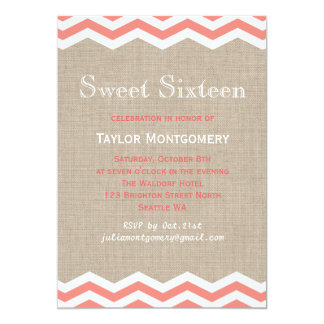 Coral Chevrons on Burlap Sweet Sixteen Invitation