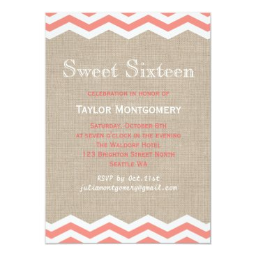 Beach Themed Coral Chevrons on Burlap Sweet Sixteen Invitation