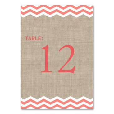 Beach Themed Coral Chevrons on Burlap Table Number Card