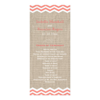 Coral Chevrons on Burlap Wedding Program Personalized Rack Card