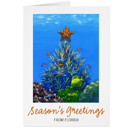 Z Coral Card Coral Christmas Tree C...