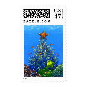 Christmas Themed Coral Christmas Tree postage stamp