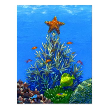 Christmas Themed Coral Christmas Tree postcard