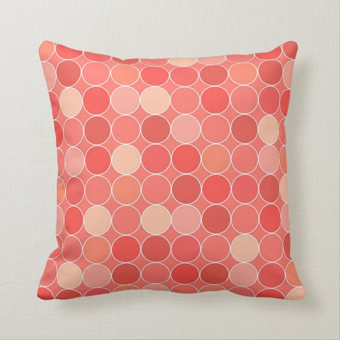Decorative Pillows With Circles : Coral Circles Pattern Decorative Pillow Zazzle