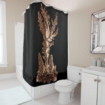 Beach Themed Coral coastal nautical watercolor black shower curtain