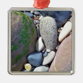 Coral Cobble And Beach Stones Metal Ornament