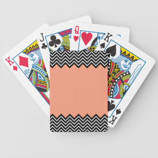 Coral Color Block Chevron Bicycle Playing Cards