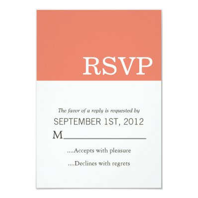 Coral Color Block Wedding RSVP Cards Invites