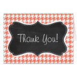 Coral Color Houndstooth; Chalkboard look Greeting Card