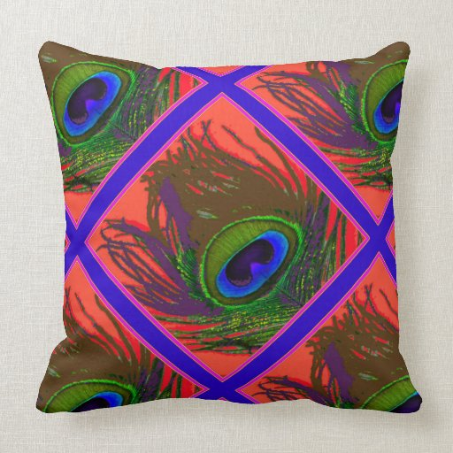 Coral Color Purple Green Feather Art Throw Pillow