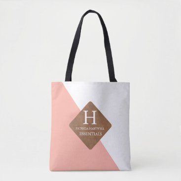 Professional Business Coral Color Split Faux Leather Patch Wedding Tote Bag