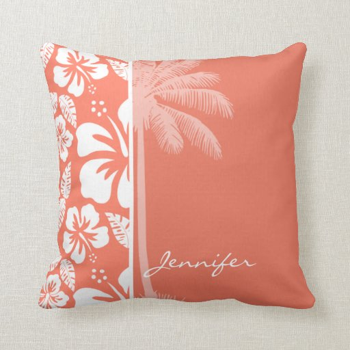Coral Color Tropical Hibiscus; Summer Palm Throw Pillow