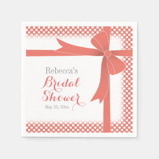 Coral Colored Bow & White Dots Bridal Shower Paper Napkin