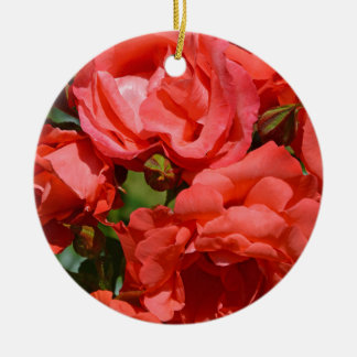 Coral colored roses in bloom christmas ornaments