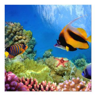 """Coral colorido y pescados tropicales invitación 5.25"""" x 5.25"""""""