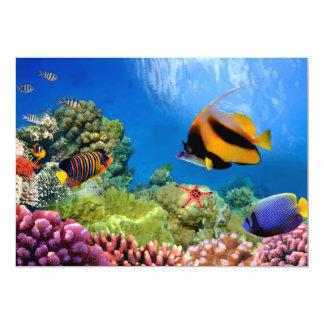 """Coral colorido y pescados tropicales invitación 5"""" x 7"""""""